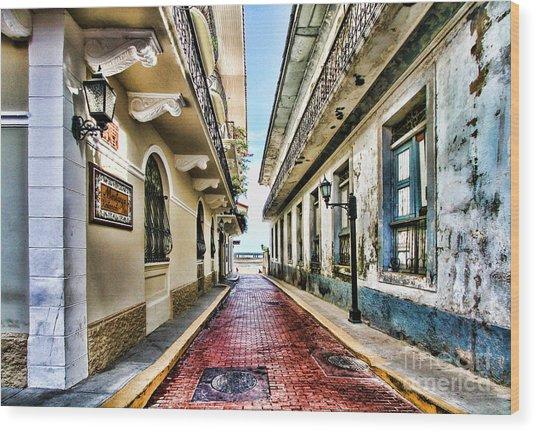 Streets Of El Casco Viejo 2  Wood Print