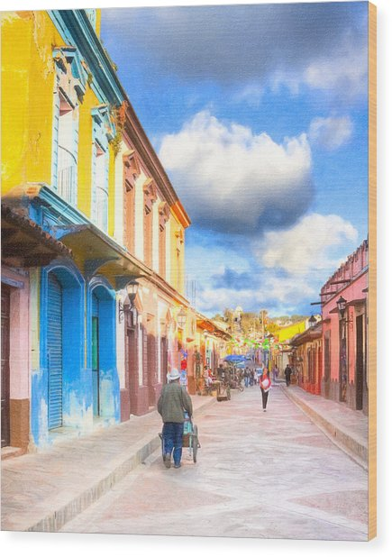 Streets Of San Cristobal De Las Casas - Colorful Mexico Wood Print