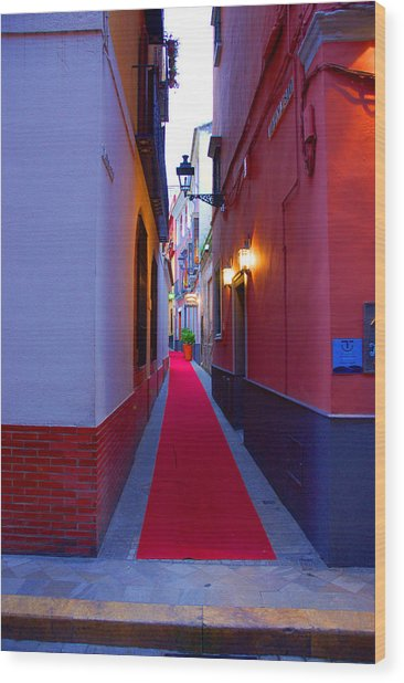 Streets Of Seville - Red Carpet  Wood Print