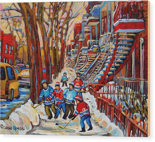 Streets Of Verdun Hockey Art Montreal Street Scene With Outdoor Winding Staircases Wood Print