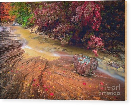 Striated Creek Wood Print
