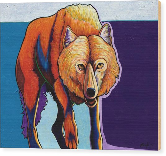 Strictly Business - Arctic Wolf Wood Print by Joe  Triano