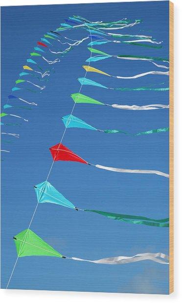 String Of Kites Wood Print