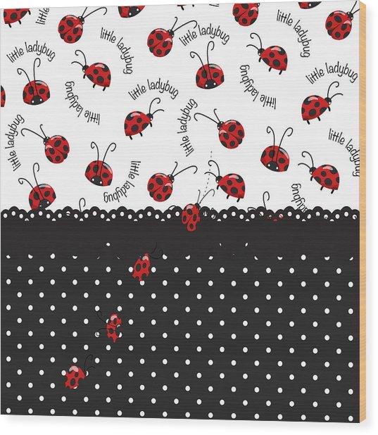 String Of Ladybugs Wood Print