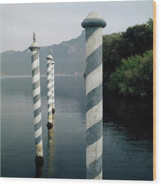 Striped Posts In The Grand Canal Wood Print