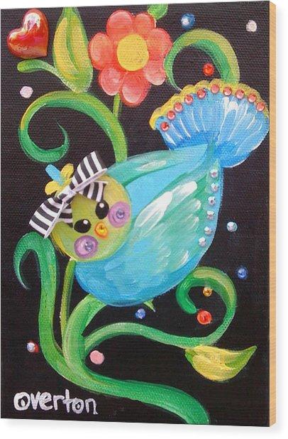 Stripey Birdy Wood Print