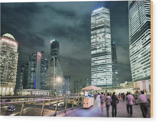 Stroll At Mid-level Shanghai Wood Print by Andy Brandl