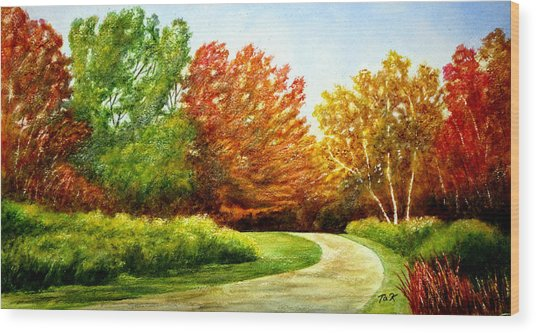 Stroll Into Autumn Wood Print