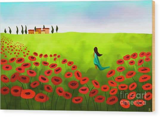 Strolling Among The Red Poppies Wood Print