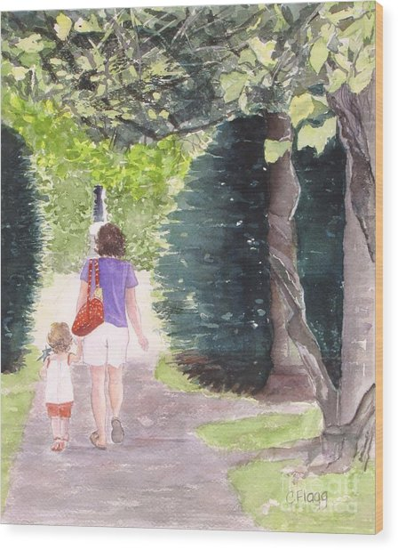 Strolling With Mom Wood Print