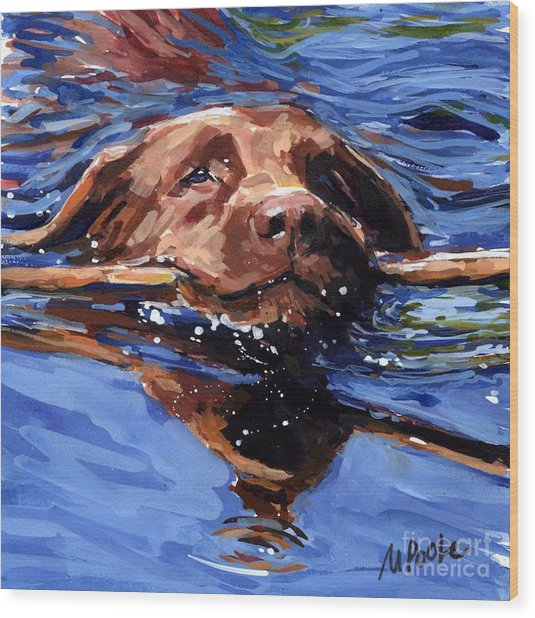 Strong Swimmer Wood Print