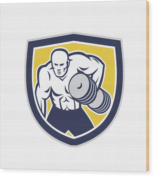 Strongman Lifting Dumbbells Front Shield Retro Wood Print by Aloysius Patrimonio