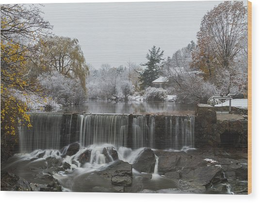 Stroudwater Falls Portland Maine Wood Print