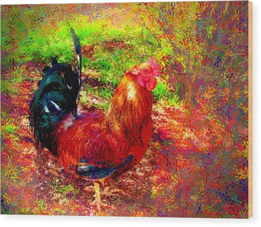 Strutting In Living Color Wood Print