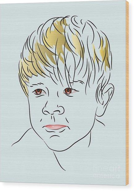 Stubborn Boy Wood Print