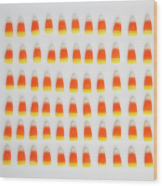 Studio Shot Of Rows Of Candy Corn Wood Print by Jessica Peterson