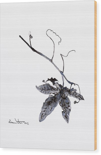 Study Of Leaf In Ink Wood Print
