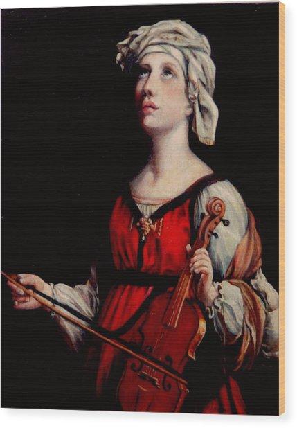 Study Of St. Cecelia Wood Print