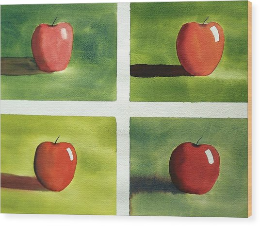 Study Red And Green Wood Print
