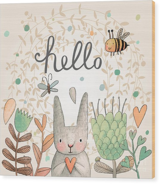 Stunning Card With Cute Rabbit Wood Print
