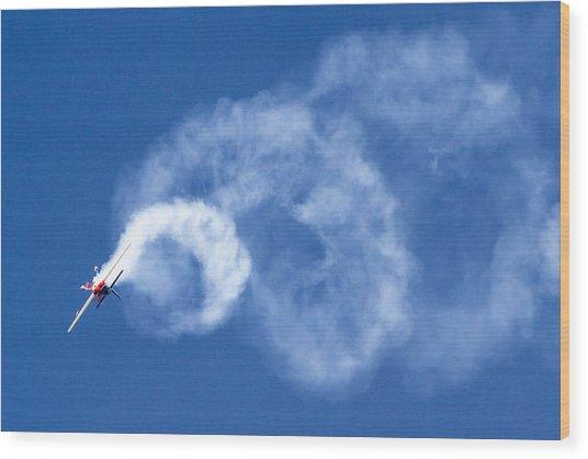 Stunt Plane Corkscrew Wood Print