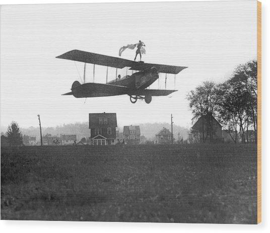 Stunts Atop A Biplane Wood Print