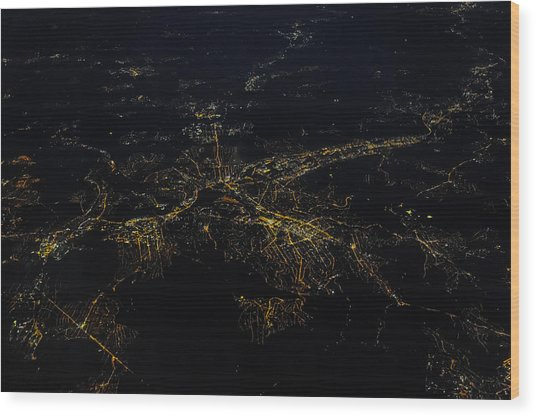 Stuttgart From The Air At Night Wood Print by (c) Florian Leist