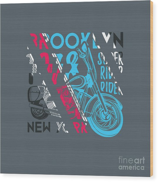 Stylish Vector Illustration Of Vintage Wood Print
