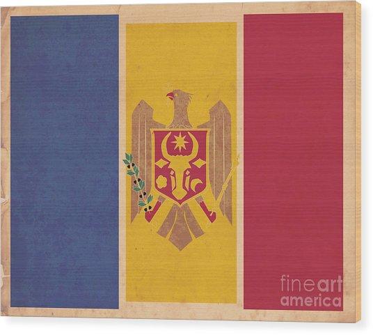 Stylized Moldovan Flag  Wood Print by Megan C