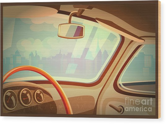 Stylized Retro Interior Vector Wood Print