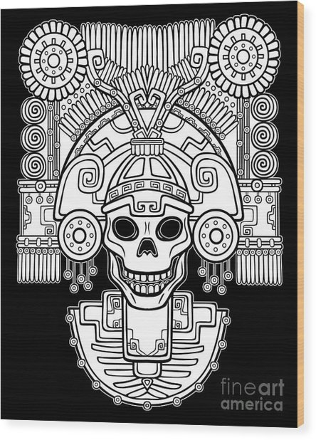 Stylized Skull. Pagan God Of Death Wood Print