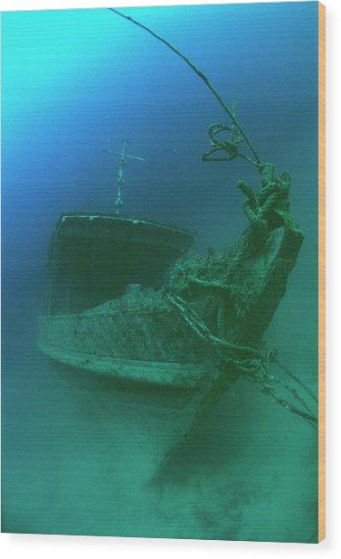 Submerged Shipwreck Wood Print