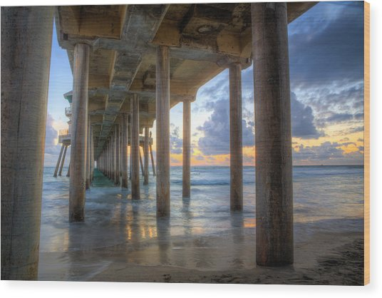 Subtle Pier Sunset Wood Print