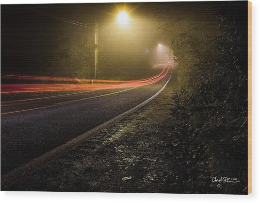 Suburbian Night Wood Print