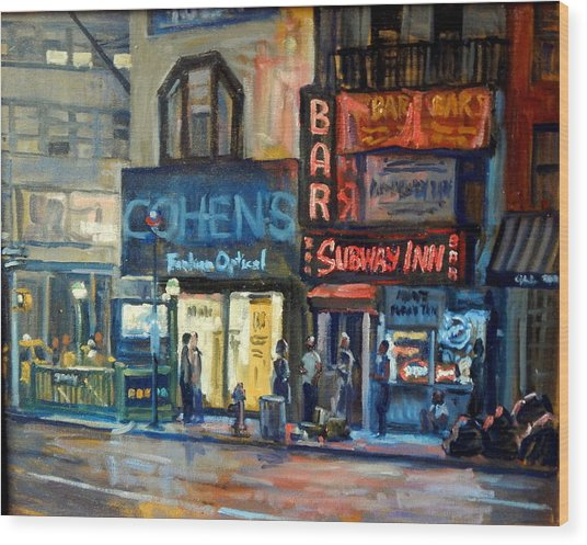 Subway Inn New York City Nyc Wood Print