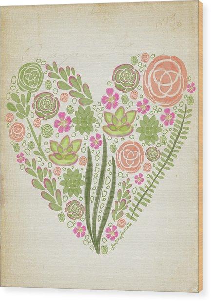 Succulent Heart Wood Print