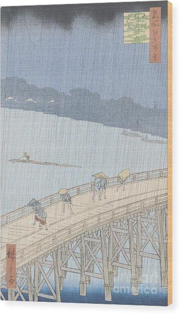 Sudden Shower On Ohashi Bridge At Ataka Wood Print
