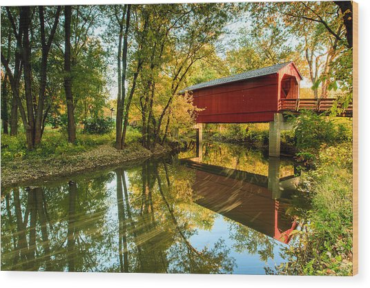 Sugar Creek Covered Bridge Wood Print