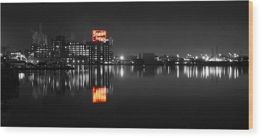 Sugar Glow - Classic Iconic Domino Sugars Neon Sign, Inner Harbor Baltimore, Maryland - Color Splash Wood Print