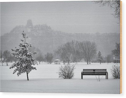 Sugarloaf Snowstorm Wood Print