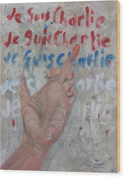 Je Suis Charlie Finger Painting To Al Qaeda Wood Print