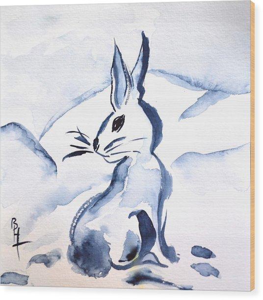 Sumi-e Snow Bunny Wood Print