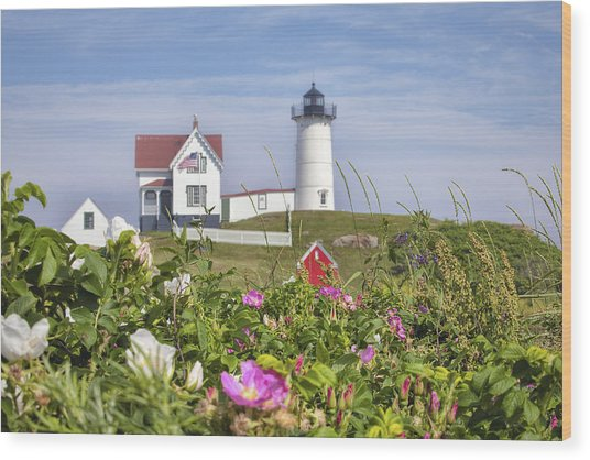 Summer At Nubble Light Wood Print