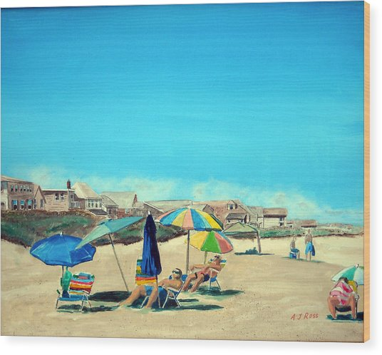 Summer At Salisbury Beach Wood Print by Anthony Ross