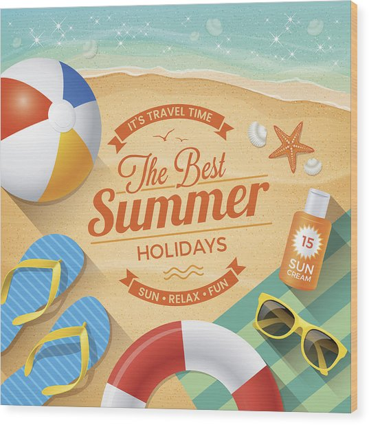 Summer Background With Beach Summer Accessories Wood Print by Paci77