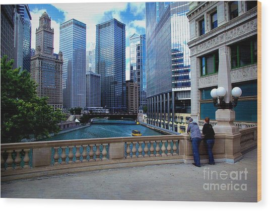 Summer Breeze On The Chicago River - Color Wood Print