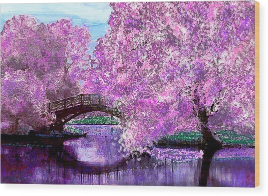 Summer Bridge Wood Print