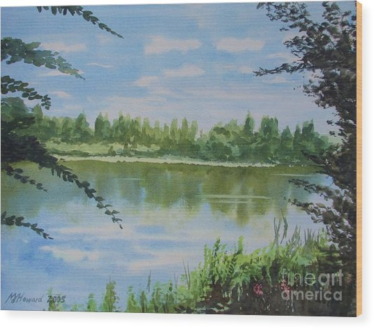 Summer By The River Wood Print