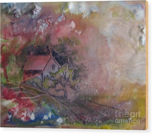 Summer Cottage Wood Print by CJ  Rider