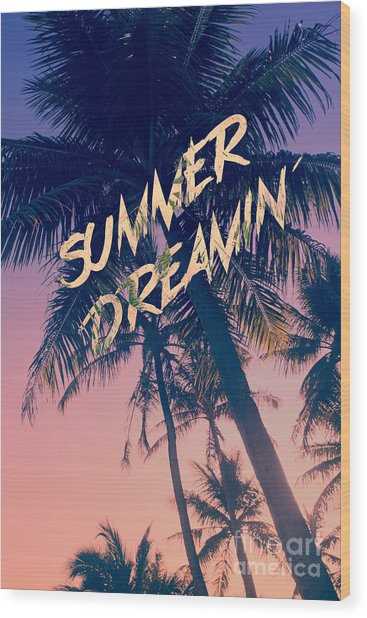 Summer Dreamin Tropical Island Palm Trees Sunrise Wood Print